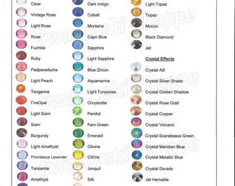 12ss Swarovski Crystal Flatbacks Rhinestones. Item 2088. No-Hotfix. 3.1mm. ss12. Choose Color!