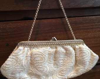Salisburys 1960s Cream and Gold Brocade Evening Purse with Decorative Gold Frame and Chain. GC