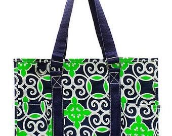 Personalized Navy Blue & Lime Geometric Print Small Zipper Top Utility Tote * Monogram Tote * Custom Beach Bag Monogrammed Name Gift 731