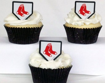 12 Boston Red Sox Cupcake Rings MLB Baseball Toppers Party Favors