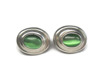 Vintage Mexican Sterling Green Catseye Earrings