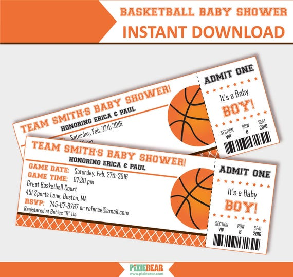 Basketball Baby Shower Invitation   Baby Shower Invitation For Boy    Basketball Invitation   Basketball Ticket Invitation (Instant Download)