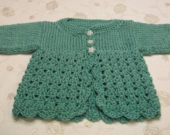 Turquoise Baby Cardigan, Turquoise Baby Sweater, Turquoise Newborn Green Cardigan, Newborn Turquoise Top, Newborn Turquoise Knitted Sweater