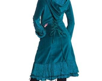 CORSET BACK COAT, long velvet coat, elegant steampunk jacket, corset coat, bohemian coat, hippie hippy velvet jacket, gothic purple jacket