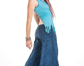 VELVET FLOW PANTS, blue velvet flares, extra wide long bellydance trousers, hippy flare pants, pixie clothing, Goa doof clothing