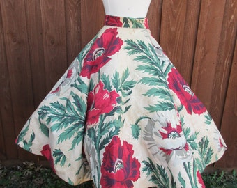 Red Flower Rockabilly Barkcloth Circle Skirt Giant Floral Print Pin Up Skirt Size XS