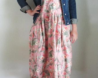 90s GAP Hawaiian Dress Pink Tropical Vintage Floral Sleeveless Cotton Shirt Dress