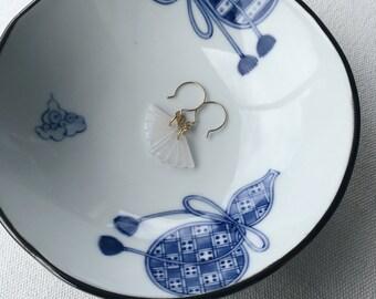 Dainty earrings, Small white earrings, Small drop earrings, Fan dangle earrings, White jade earrings, Carved jade fan earrings