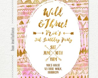 wild and three 3rd birthday invitation for girl, arrows tribal birthday party invitation blush pink coral gold glitter, printable digital