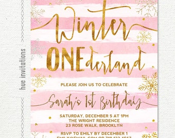 winter ONEderland invitation girl, winter wonderland 1st birthday invitation, pink gold glitter snowflake birthday invitation printable file