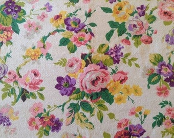 """1950's Barkcloth Floral Fabric- 44"""" X 42"""", heavy, 11 colours, pink, purple, yellow, green on tan, gorgeous!"""