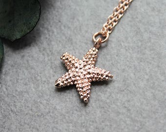 Starfish Necklace, Rose Gold Starfish Necklace, Starfish Pendant, Starfish Charm Necklace, Dainty Starfish Necklace, Beach Necklace