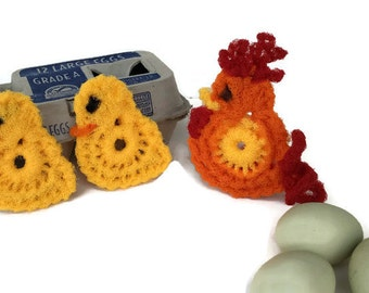 Nylon Pot Scrubber, 1 Rooster & 2 Chicks, Dish Scrubbies, Vegetable Scrubbers, - Gift for Him or Her