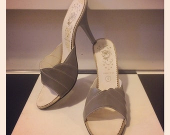 CUTE 1980's does 1950's Grey Mules - Rockabilly - Burlesque - Showgirl - UK 5
