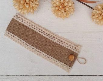 Burlap Tie Backs - Curtain Tie Backs with Crochet Lace - Burlap Drape Tie Backs - Rustic Home Decor - Hessian Tie Backs - Set of 2