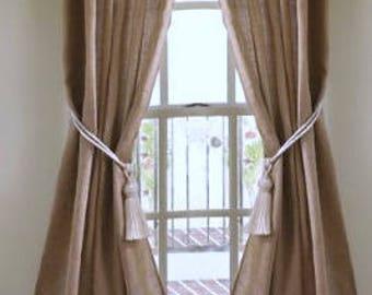 "Burlap Curtains - Curtains with Fringe - Burlap Drapes - Burlap Curtain Panels - Rustic Curtains - 65"" x 96"" - Rustic Home Decor -  Set of 2"