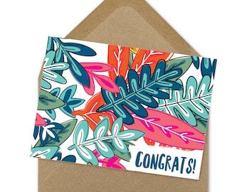 Congrats card, graduation card, floral card, grad card, open house card, congrats grad card, printable card, instant download card | A6
