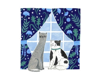 8 x 8in Cat Couple Art Print | Cute animal art | Fun pets painting | cat love | cat illustrations | animal wall art | patterned print