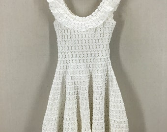 Vintage 50's Crotchet White Party Dress Fits like an XS/ Small
