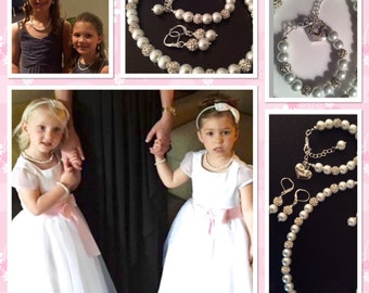 Flower Girl Jewelry Set - Bridal Pearls - Junior Bridesmaid Jewelry - Child Pearl Necklace - Vintage Style Necklace - Flower Girl Jewellery