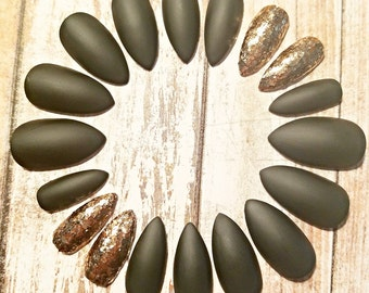 Olive & Copper Stiletto Nails- Press on Nails- Glue on Nails- Acrylic Nails- Artificial Nails- Fake Nails- False Nails- Matte Nails- Glitter