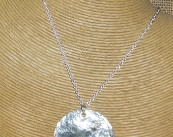 "Sterling Silver Hammered 2"" DIsc Pendant"