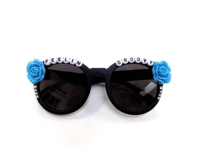 Feelin' Groovy hand decorated sunnies, sunglasses inspired by Simon and Garfunkel, Grateful Dead, the perfect festival shades!