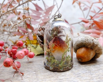 Citrine crystal necklace, terrarium necklace, gift for woman, raw quartz necklace, botanical jewelry,boho necklace,real moss,crystal pendant