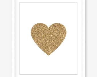 Printable art - gold printable poster - gold glitter print - valentines printable wall art - heart print - love print - DIGITAL DOWNLOAD