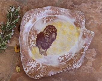 Lion Platter handmade ceramic dinner plate serving plates tray animal pottery dinnerware rustic modern kitchen gifts housewarming