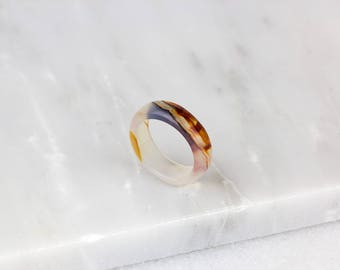 Brushed Agate Ring/ Stone Agate Ring/ Molten Lava Jewelry/ Agate Stone Band/ White Agate Ring