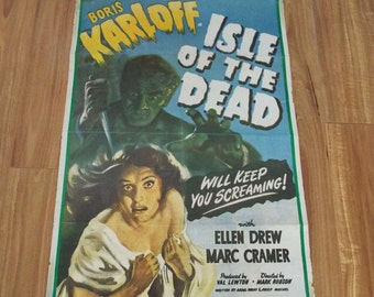 Vintage Original 1971 Boris Karloff Isle Of The Dead Film Movie Poster Horror Rare Poster