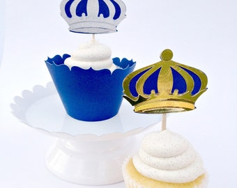 Prince Crown Cupcake Toppers|Crown cupcake topper|Prince Party Decor|Prince Picks| Crown cupcake Picks|Princess Party Toppers|Set of 12