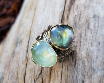 Labradorite Ring, Prehnite Ring, Double Stone Ring, Gold and Silver Ring, Large Stone Ring, Handmade Ring, Made To Order