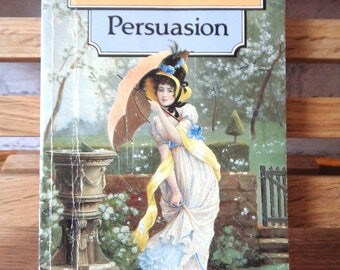 Vintage paperback book Persuasion Jane Austen fiction book historical satire romance novel of manners Anne Elliot English Literature classic