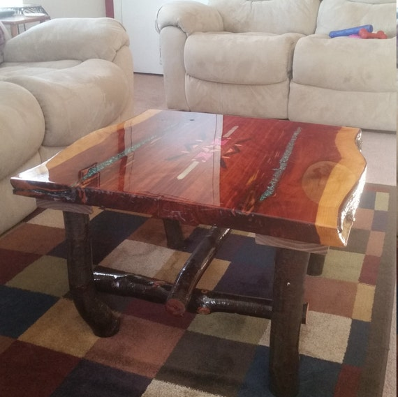 Vintage Wood Slab Coffee Table With Coral Reef: Cedar Natural Live Edge Inlaid Rustic Coffee Table Native