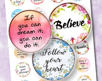 """Inspirational quotes digital collage sheet bottlecap image Motivational sayings 1 inch round 30mm 25mm 1.25"""" 1.5"""" circle printable download"""