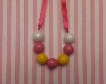 Inspired By Lalaloopsy Cookie Crumb, Edible Bubble Gum Necklace, Edible Party Favor, Pink, Yellow and White Bubble Gum Balls
