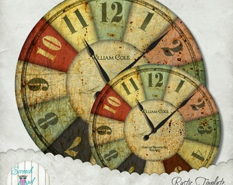 Clock Face, Rustic Metal Clock Face, Craft Supplies, Decoupage, Instant Download, Printable Clock Face