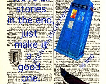 "Dr Who quote,Tardis,instant download,""We're all stories..""dictionary print,poster,home decor,wall art,6x6 on 8.5x11,printab"