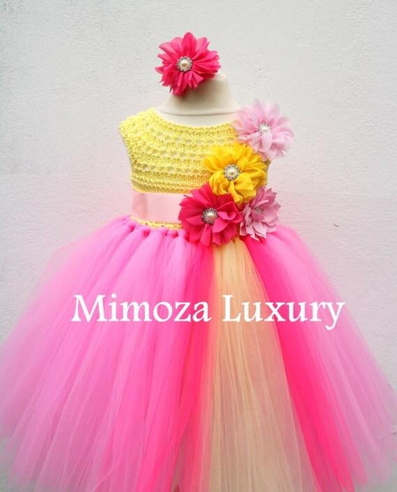 Pink Lemonade Birthday Dress, Infant Baby Girl Dress, Pink Yellow Flower girl dress, infant tutu dress, newborn princess dress, infant party
