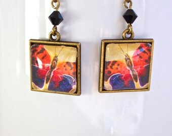 Colorful Comma Butterfly Earrings Antique Brass Finish Pierced Ear Dangle Earrings