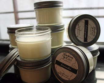 CHOOSE ANY 4 or 6 – Small 4oz Jar Soy Candle | Mason Jar Candle | Hand Poured | Aromatherapy | All Scents | Mix & Match | Gift Set