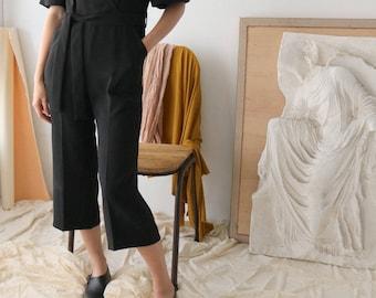 SICILY JUMPSUIT (Ankle-length V-neck black belted jumpsuit)