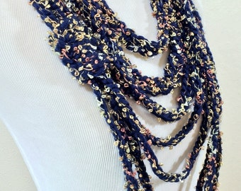 Multicolor Crochet scarf, Infinity scarves, Gift for her, Handmade necklace, Boho, Crochet jewelry, Ready to ship,