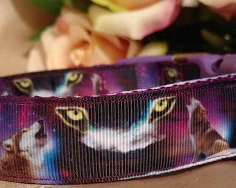 "Howling Wolf 1"" Width Adjustable Dog Collar"
