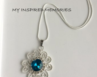 Free Shipping! Turquoise flower necklace, sterling silver chain