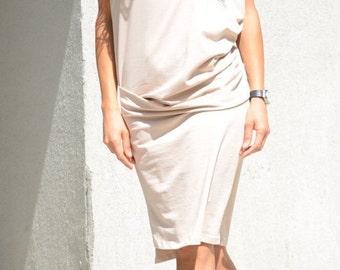 Prom midi dress, short sleeve tunic, evening dress for plus size women, cotton dress for summer, mid knee tunic, minimalist oversized dress