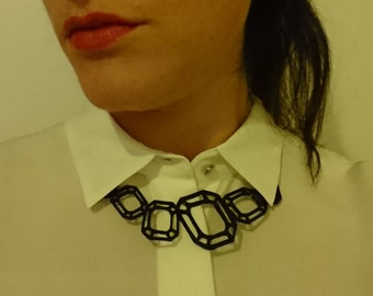 Geometric 3D printed gems statement necklace