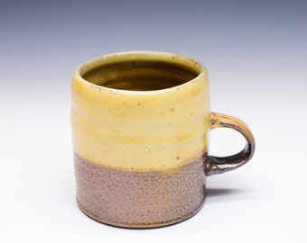 Salt Fired High-Iron Stoneware Mug - Yellow Glaze, 0425011